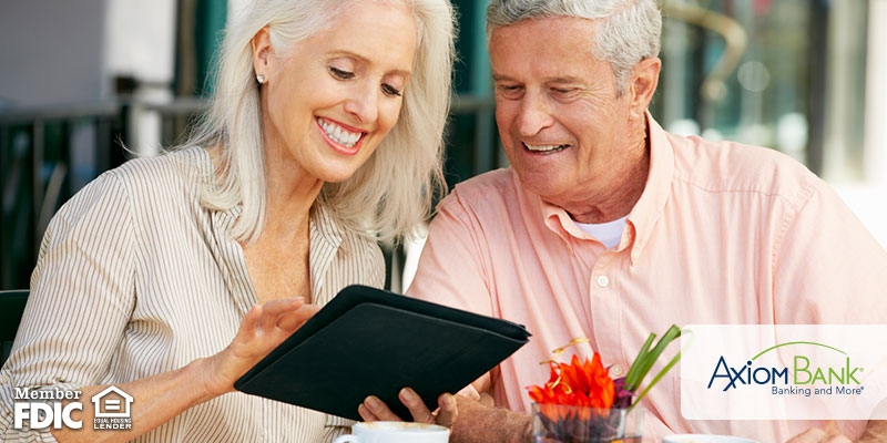 Older couple looking at tablet together