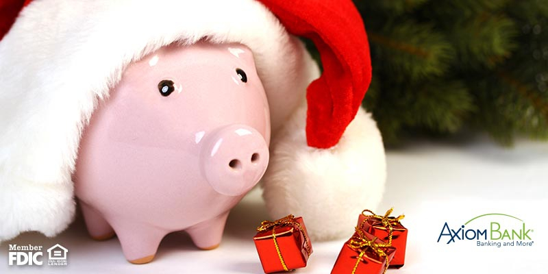 Piggy bank with a Santa hat on