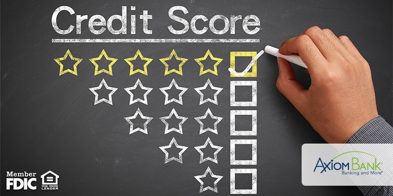 Credit Score on a blackboard with stars and checkboxes underneath