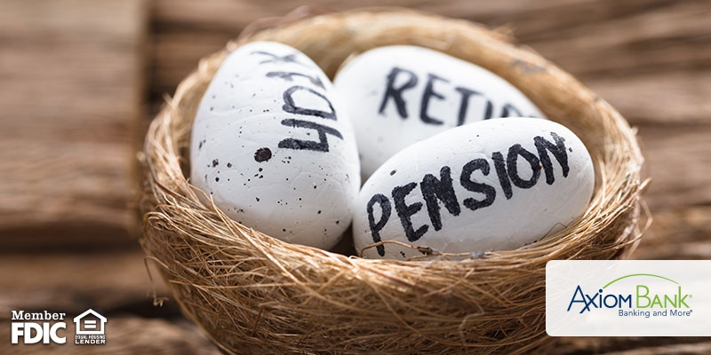 Eggs in a basket labelled Pension, 401K, and Retirement
