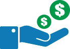 icon of hand with money signs above it