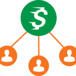 Graphic of a money symbol with lines moving toward individuals indicating loans